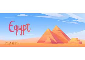 埃及海报沙漠中有金字塔的骆驼大篷车_12620501