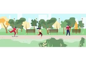 城市公园里休息的卡通人物插图_4838221