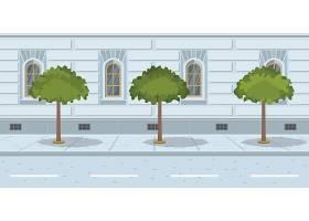 城市街道上排成一排的树木_3297827