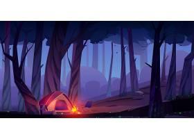 夏令营晚上有篝火和帐篷_13009463