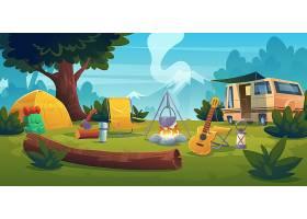 夏令营有篝火帐篷面包车背包椅子和_12873512