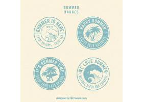 复古风格的圆形夏季徽章集合_1109351
