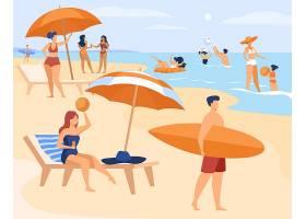 夏天人们在海边休息_9176192