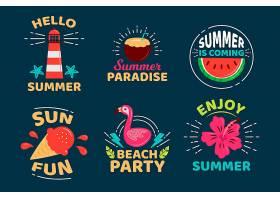 夏天来了扁平设计徽章系列_8468271