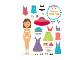 夏天的纸娃娃穿着礼服戴着帽子的女孩可_10602264