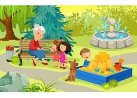 公园里的祖母和孙子_9444765