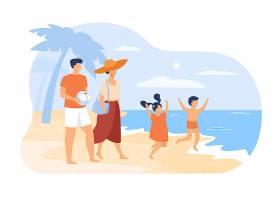 关于暑假概念的家庭父母夫妇和孩子在海滩_10612950