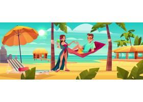 关于热带度假胜地的暑假卡通矢量_4394117