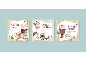 具有韩国咖啡风格概念的商业和营销水彩画广_11953335