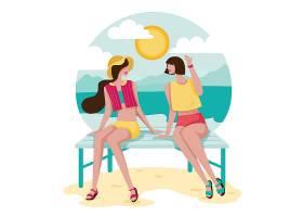 卡通风格快乐的年轻女子坐在海滩上闲聊_12953828