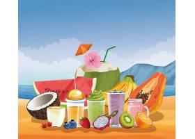 卡通风格的暑假和海滩_4795787