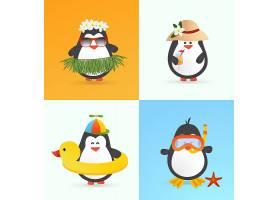 可爱的夏季企鹅角色_1150061