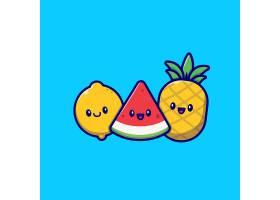 可爱的柠檬西瓜和菠萝卡通矢量插图夏季_10494173
