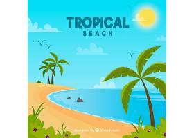 可爱的热带海滩设计平坦_2712537