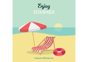 可爱的热带海滩设计平坦_2712539