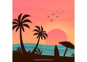 可爱的热带海滩设计平坦_2712560