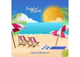 可爱的热带海滩设计平坦_2712569