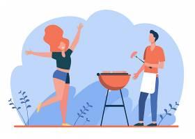 享受烧烤派对的幸福夫妻男的在做烤肉女_11671694