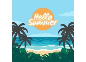 你好夏天有海滩和植被_7968002