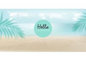 你好夏天的旗帜上有海滩海洋和棕榈叶_9641604