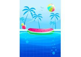 你好夏日聚会横幅设计水族馆的游泳池_4015714