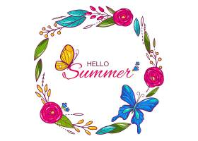 你好盛开鲜花和蝴蝶的夏天_7942623