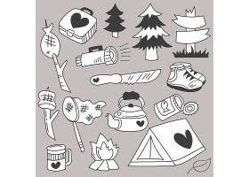 假日旅行野营套装及卡通物品手绘素描_13330343