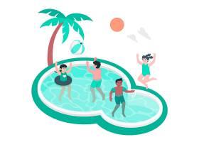 儿童在游泳池里玩耍的概念插图_8115392