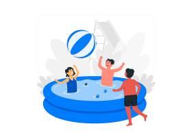儿童在游泳池里玩耍的概念插图_8199298