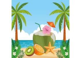 充满异国情调的热带水果图标卡通_4792867