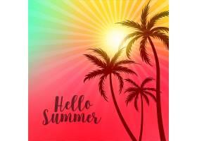 充满活力的问候夏日海报上面有棕榈树和太_4607181