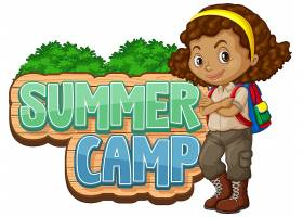 公园里有可爱孩子的夏令营字体设计_8219085