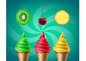 一套带有猕猴桃樱桃和菠萝味道的软冰淇淋_11053451