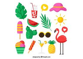 一套平坦风格的水果和食物的夏季元素_2164882