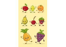 一套快乐的卡哇伊颜色水果_5685673