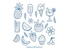 一套手绘风格的水果和饮料的夏季元素_2163794