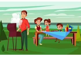 一家人在烧烤野餐插图烤肉架上父亲油炸的_3090653