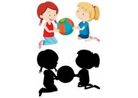 两个女孩穿着颜色和剪影在打球_11829618