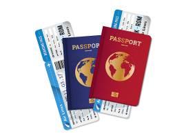 两本护照配登机牌车票逼真套装国际航空旅行_4280485