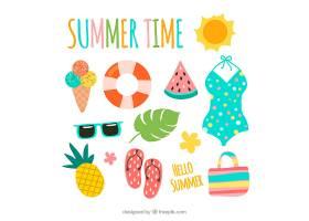 一组夏季元素食物和衣服都是平坦的_2165056
