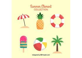 一组夏季元素食物和衣服都是平坦的_2170454