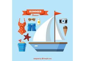 一组夏季元素食物和衣服都是平坦的_2170460
