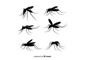 一组扁平的蚊子剪影_3138797