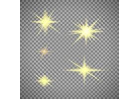 一组隔离在透明上的金色星光_5501872