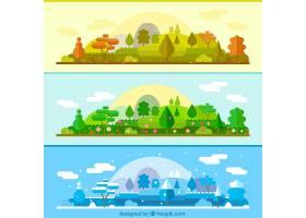 不同季节的相同景观横幅_844369