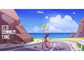与女孩一起骑自行车和海上的夏日风景_8251706