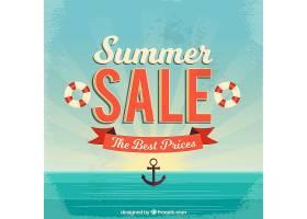 复古风格的夏季销售背景_2174968