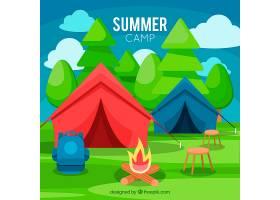 夏令营背景五颜六色的帐篷免费矢量_2217315