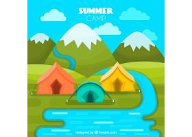 夏令营背景五颜六色的帐篷免费矢量_2217316