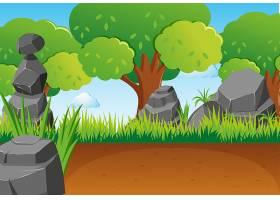 公园里有石头和树木的场景_1341517